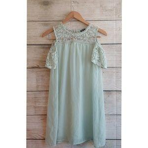 Mint Green Lace Cold Shoulder Flowy Mini Dress XS